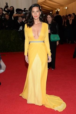Robe de soiree jaune large 2268