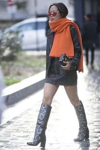 How to wear: orange shawl, black leather biker jacket, hot pink long sleeve t-shirt, black leather mini skirt