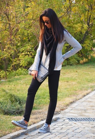 How to wear: black shawl, grey biker jacket, white eyelet sleeveless top, black leggings