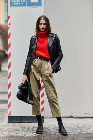 How to wear: charcoal shawl, black leather biker jacket, red knit turtleneck, tan culottes