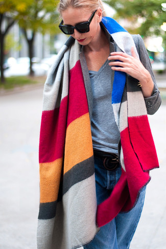 How to wear: multi colored horizontal striped shawl, grey blazer, grey v-neck t-shirt, blue boyfriend jeans