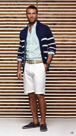 s navy and white horizontal striped shawl cardigan light blue dress shirt white leather