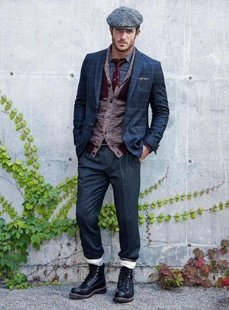 How to wear: burgundy shawl cardigan, navy check blazer, blue print long sleeve shirt, navy dress pants