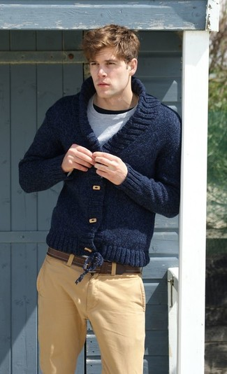 Colorblock Cotton Shawl Cardigan