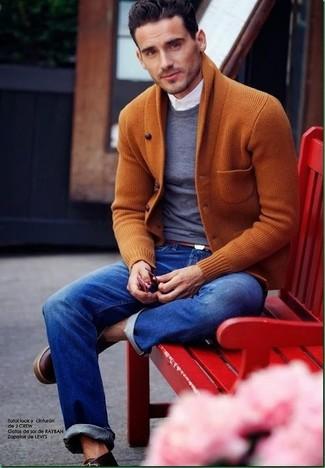 2 Leather Tweed Wing Tip Boot Brown