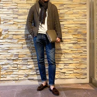 How to wear: olive shawl cardigan, white crew-neck sweater, navy jeans, dark brown suede tassel loafers