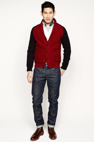 To create an outfit for lunch with friends at the weekend make a red shawl  cardigan