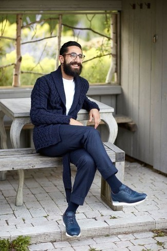 How to Wear Navy Athletic Shoes For Men: Infuse style into your daily wardrobe with a navy shawl cardigan and navy chinos. Complement your ensemble with navy athletic shoes to immediately rev up the appeal of this ensemble.