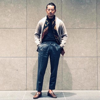 How to wear: grey shawl cardigan, black crew-neck t-shirt, charcoal wool dress pants, brown leather loafers