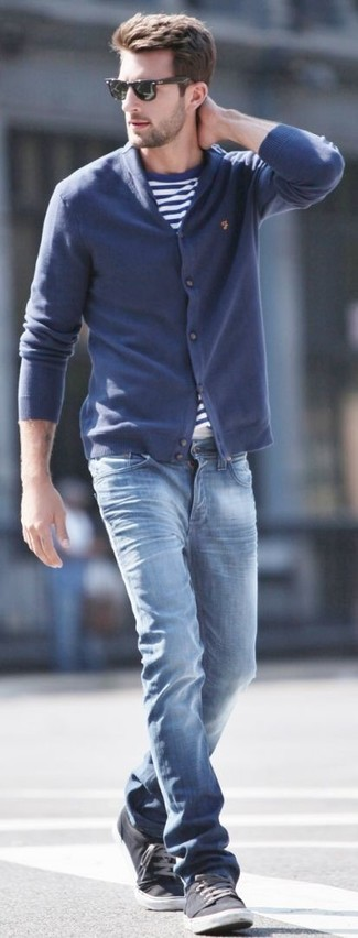 How to wear: navy shawl cardigan, white and blue horizontal striped crew-neck t-shirt, blue jeans, charcoal plimsolls