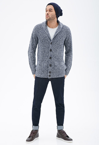 For an ensemble that's super simple but can be dressed up or down in a great deal of different ways, try pairing a grey shawl cardigan with a Cole Haan Striped Cardigan Stitch Watch Cap. Dark brown leather high top sneakers will give your look an on-trend feel. So when spring is here, you'll find this combination to be your everything.