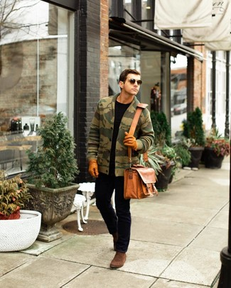 How to wear: olive camouflage shawl cardigan, black crew-neck t-shirt, black jeans, brown suede chelsea boots