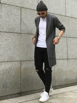 How to wear: charcoal shawl cardigan, white crew-neck t-shirt, black ripped skinny jeans, white leather low top sneakers