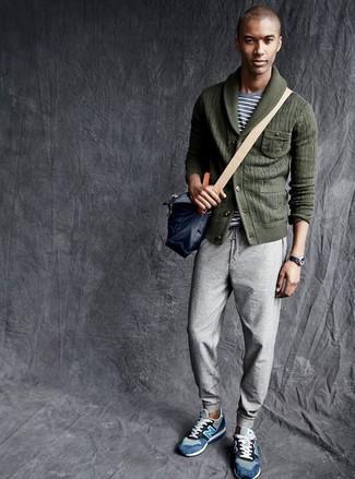 How to wear: dark green shawl cardigan, grey horizontal striped crew-neck t-shirt, grey sweatpants, blue suede low top sneakers