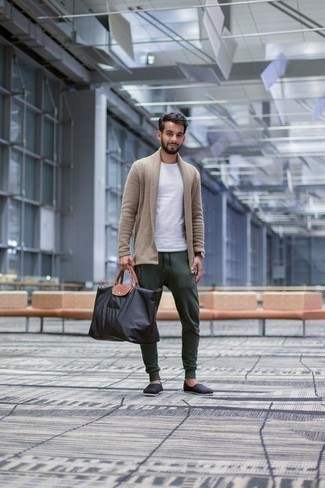How to Wear a Black Canvas Tote Bag For Men: You'll be surprised at how easy it is for any gentleman to put together a laid-back outfit like this. Just a tan shawl cardigan and a black canvas tote bag. Introduce a pair of black canvas espadrilles to your outfit to make the outfit a bit more elegant.