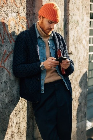 A navy shawl cardigan and navy dress pants are great essentials to incorporate into your current wardrobe. You can bet this combination will become your uniform when colder weather arrives.