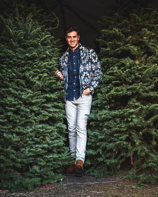 How to wear: navy print shawl cardigan, navy denim shirt, grey chinos, tobacco suede chelsea boots