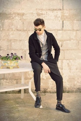 How to Wear Black Studded Leather Derby Shoes: Such essentials as a grey shawl cardigan and charcoal chinos are the perfect way to infuse extra class into your off-duty styling routine. And if you want to instantly dial up this ensemble with one item, why not add black studded leather derby shoes to this look?