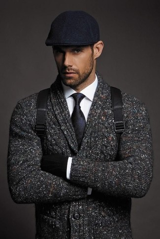 How to wear: charcoal shawl cardigan, white dress shirt, black leather backpack, black flat cap