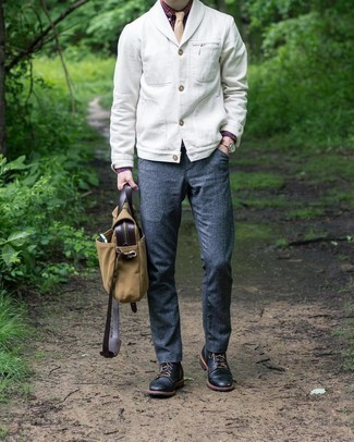Charcoal Wool Chinos Outfits: This combo of a white shawl cardigan and charcoal wool chinos is a must-try smart getup for any modern man. The whole look comes together when you complete this ensemble with black leather casual boots.