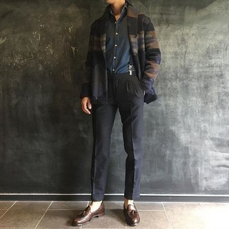Charcoal Dress Pants with Suspenders Outfits: A black fair isle shawl cardigan looks so sophisticated when worn with charcoal dress pants. If you're clueless about how to round off, a pair of brown leather tassel loafers is a nice pick.