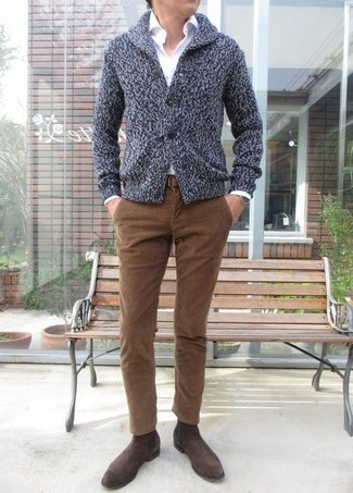 How to wear: charcoal shawl cardigan, white dress shirt, brown corduroy jeans, dark brown suede chelsea boots