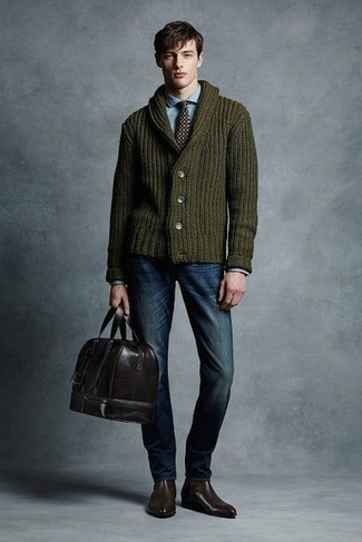 How to Wear an Olive Shawl Cardigan For Men: Dress in an olive shawl cardigan and navy jeans for a sharp, off-duty ensemble. Dark brown leather chelsea boots will bring an extra dose of style to an otherwise standard outfit.