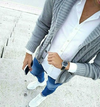 How to wear: grey shawl cardigan, white dress shirt, blue ripped skinny jeans, white athletic shoes