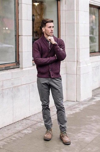 How to wear: purple shawl cardigan, burgundy gingham long sleeve shirt, grey chinos, brown leather casual boots
