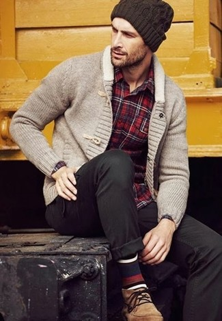 How to wear: grey shawl cardigan, red plaid long sleeve shirt, black chinos, tan suede desert boots