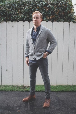 How to Wear Brown Leather Casual Boots For Men: A grey shawl cardigan and charcoal chinos are absolute mainstays if you're figuring out a smart casual wardrobe that matches up to the highest menswear standards. If in doubt about the footwear, complete this getup with brown leather casual boots.