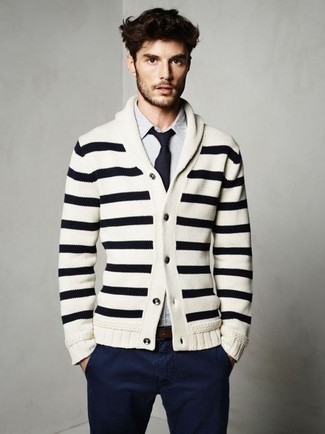 How to wear: white and black horizontal striped shawl cardigan, white and blue vertical striped long sleeve shirt, navy chinos, navy tie
