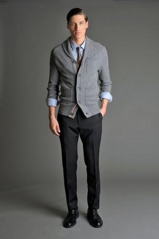 How to wear: grey shawl cardigan, light blue long sleeve shirt, black dress pants, black leather derby shoes