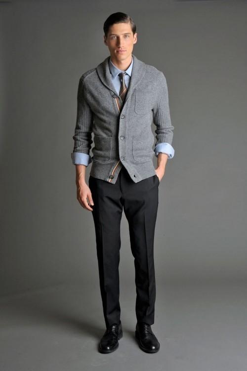 Men's Grey Shawl Cardigan, Light Blue Long Sleeve Shirt, Black ...
