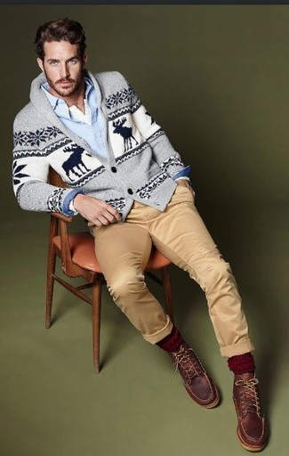 Perfect the smart casual look in a grey fair isle shawl cardigan and khaki chinos. Feeling brave? Complete your look with brown leather work boots.