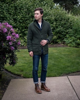 Dark Brown Leather Casual Boots Outfits For Men: Breathe style into your current casual wardrobe with a dark green shawl cardigan and navy jeans. Let your sartorial expertise really shine by rounding off your outfit with dark brown leather casual boots.