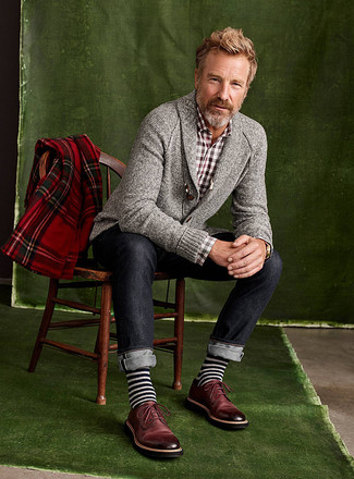How to wear: grey shawl cardigan, brown gingham long sleeve shirt, navy jeans, burgundy leather derby shoes