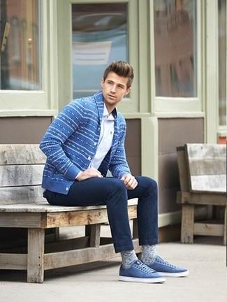 Men's Blue Fair Isle Shawl Cardigan, White Long Sleeve Shirt, Navy Jeans, Blue Low Top Sneakers