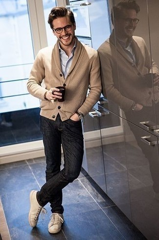 How to Wear a Tan Shawl Cardigan For Men: If you gravitate towards laid-back combinations, why not consider teaming a tan shawl cardigan with black jeans? Not sure how to finish? Complete your getup with beige canvas low top sneakers for a more relaxed twist.