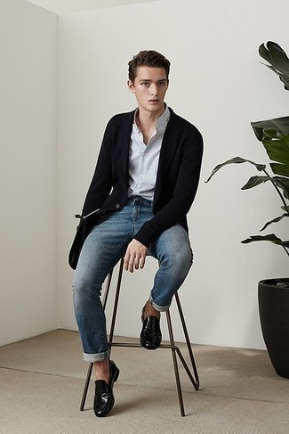 How to Wear a Black Shawl Cardigan For Men: You'll be amazed at how easy it is for any gent to put together this relaxed casual look. Just a black shawl cardigan teamed with blue jeans. For something more on the smart side to finish this outfit, complement your look with a pair of black leather loafers.