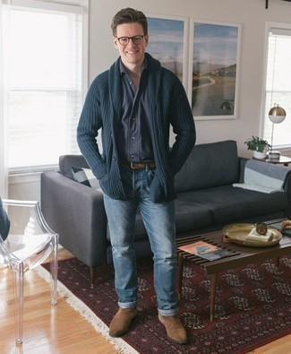 How to Wear Tan Suede Chelsea Boots For Men: A navy shawl cardigan and light blue jeans have become indispensable casual styles for most gentlemen. Up the fashion factor of this ensemble by finishing with tan suede chelsea boots.