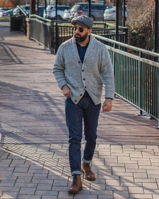 Silver Watch Outfits For Men: This city casual combo of a grey shawl cardigan and a silver watch can go different ways depending on the way it's styled. Brown leather casual boots are a surefire way to give an added dose of style to this outfit.
