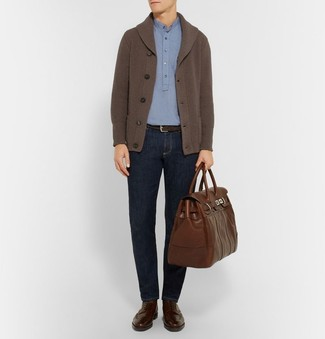 How to wear: dark brown shawl cardigan, light blue polo, navy jeans, dark brown leather brogue boots