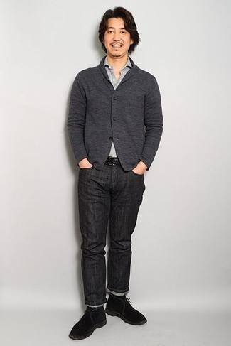 Black Jeans with Polo Outfits For Men: Pair a polo with black jeans for a relaxed casual outfit with a fashionable spin. Complete your look with a pair of black suede desert boots to effortlessly amp up the fashion factor of any look.