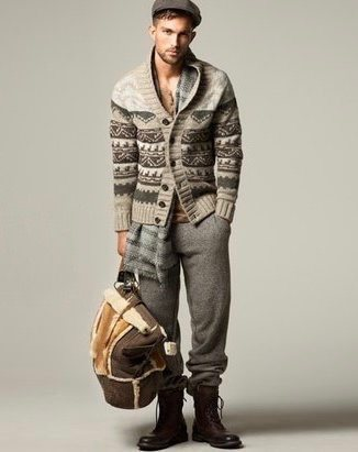 Men's Beige Fair Isle Shawl Cardigan, Grey Sweatpants, Brown ...