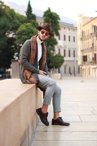 How to Wear Grey Chinos: Dress in a grey shawl cardigan and grey chinos to look elegant but not too formal. If you wish to instantly up the ante of this ensemble with a pair of shoes, why not complete this outfit with dark brown leather derby shoes?