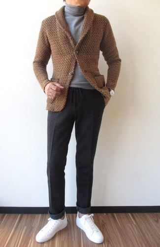 Charcoal Dress Pants Outfits For Men: Wear a brown shawl cardigan with charcoal dress pants for a proper sophisticated ensemble. Dial down the dressiness of this look by finishing with a pair of white leather low top sneakers.