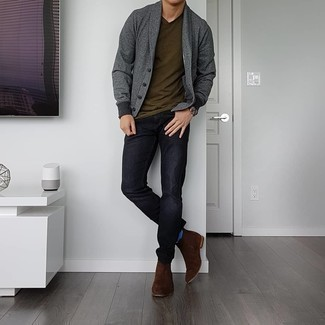 Blue Socks Outfits For Men: This combination of a charcoal shawl cardigan and blue socks is on the casual side yet it's also seriously stylish and razor-sharp. Hesitant about how to finish off your ensemble? Wear a pair of dark brown suede chelsea boots to up the style factor.