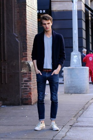... A navy shawl cardigan and navy slim jeans feel perfectly suited for weekend activities of all