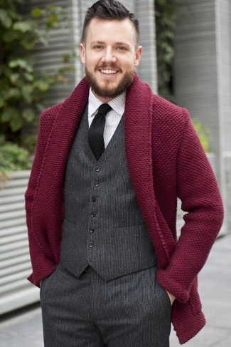 How to Wear a Burgundy Shawl Cardigan For Men: You'll be amazed at how easy it is to pull together this polished ensemble. Just a burgundy shawl cardigan and charcoal wool dress pants.